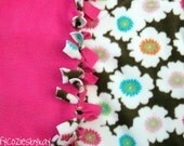 ON SALE No-Sew Girl's Baby/Toddler Blanket- Brown, White, Pink, Green, Blue, Orange, Flowers