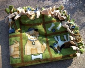 No-Sew Small Dog Blanket - Green, Brown