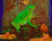 Prince - Greeting Card - Green Frog Mushrooms Crown - Enchanted Whimsical Fairytale - Kiss A Frog - Single Girl Humor - Blank