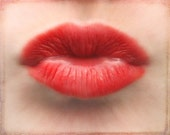 The Kiss - Photography Photograph - Wedding  Decor - Love Decoration - Sexy  Romantic Valentines Day Smooch - Red Lips Pucker Up