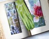 Photography Bookmarks - Set Of Three - Bloom, Grow, Love - Under Ten Dollar Wedding Favor Stocking Stuffer