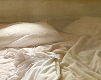 Sheets Photograph - Rest, Sleep, Bed, Calm, Dream, Dreamy, Peaceful - Neutral Taupe Cream - Romantic Bedroom Decor