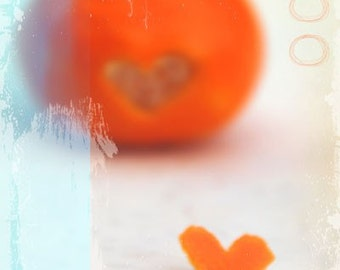 Clementine With Love - Fruit Photograph - Kichen Decor - Orange, Aqua, Turquoise, Heart, Love, Food, Foodie, Fun, Whimsical, Tangerine