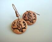 Copper Bird Stamped Earrings