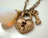 Lock and Key Necklace in Bronze with Opalite- Boho Style Lock Necklace