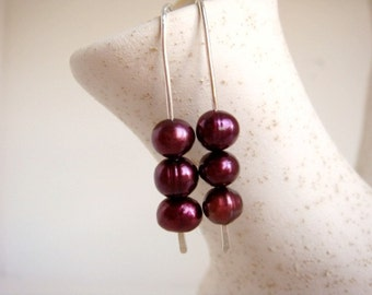 Cranberry Pearl Earrings