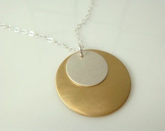 Brushed Sterling Silver and Brass Necklace