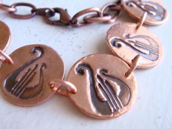 Copper Lyre Bracelet - Alpha Chi Omega