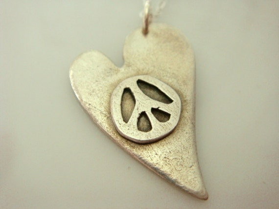 Peace and Love PMC Fine Silver Necklace