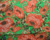 1950s Vintage Cotton Fabric - Painterly Flora