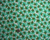 1950s Vintage Cotton Flannel Fabric - Minty Leaves