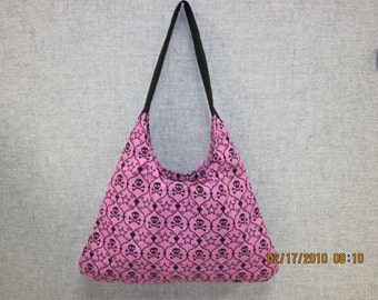 Pink and Black Skull A-line Purse