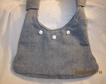 Blue Grey Herringbone Wool Blend Large Purse- CLEARANCE