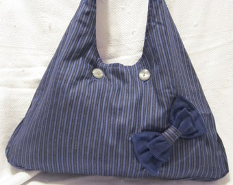 Navy and Grey Stripe Purse with bow detail
