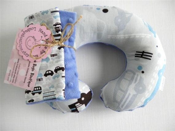 Rush Hour Baby Toddler Childrens Neck Travel Pillow with matching Car Seat Strap Covers-SALE