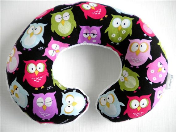 SALE-Sleepy Owls Baby Toddler Childrens Neck Travel Pillow with Minky