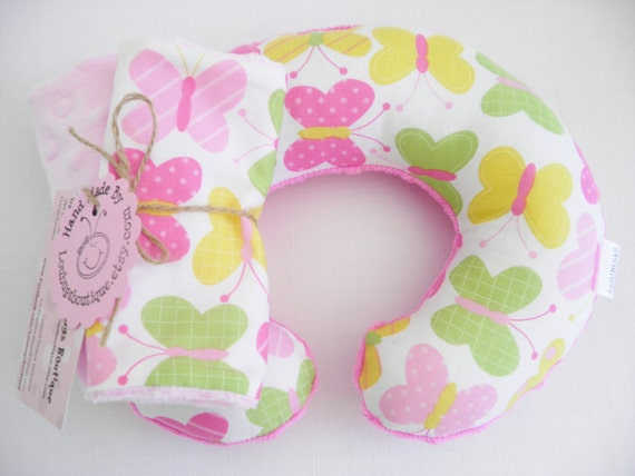 Butterfly Baby Toddler Childrens Neck Travel Pillow with Matching Car Seat Strap Covers