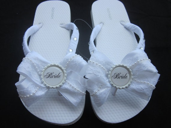 White Bride Wedding Flip Flops