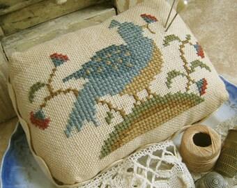 Bird 'N Blossom Pin Cushion~Cross Stitch Pattern