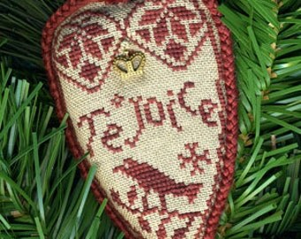 """Quaker Rejoice Ornament ~ Cross Stitch Pattern (""""Open Crown"""" brass charm is included)"""