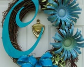 Custom Monogram Initial Letter Wreath with Can Flowers EXAMPLE