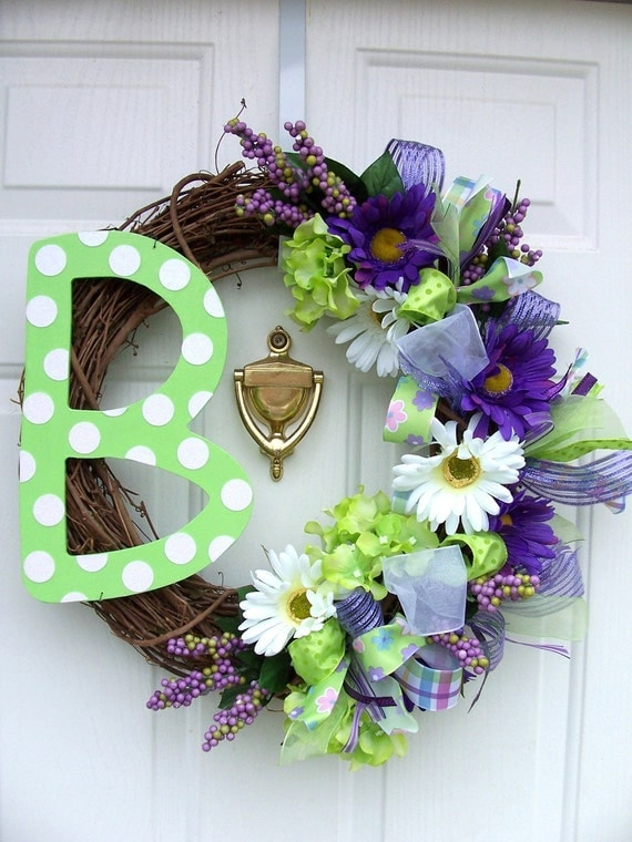 "Monogram Initial Letter Spring Wreath with Flowers EXAMPLE 18"" wreath form"