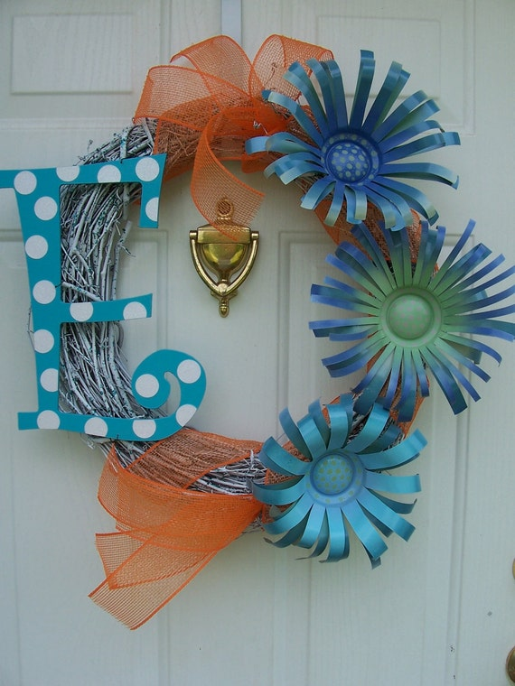 Monogram Initial Letter Wreath with Can Flowers EXAMPLE