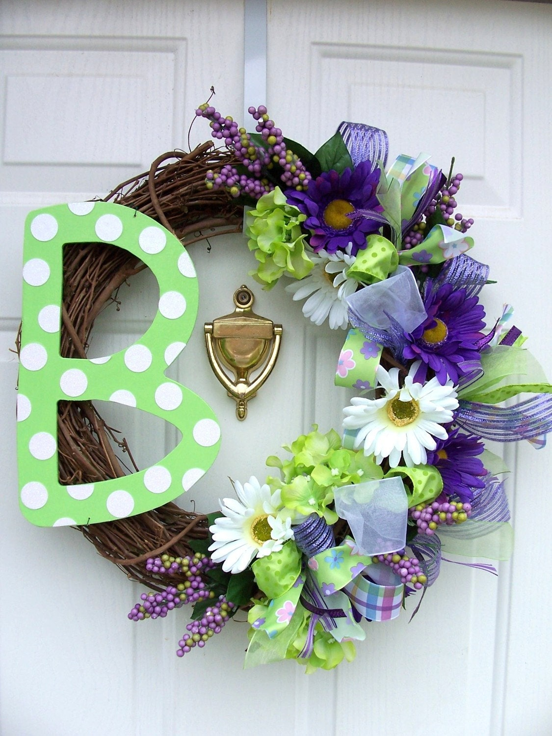 monogram initial letter spring wreath with flowers example