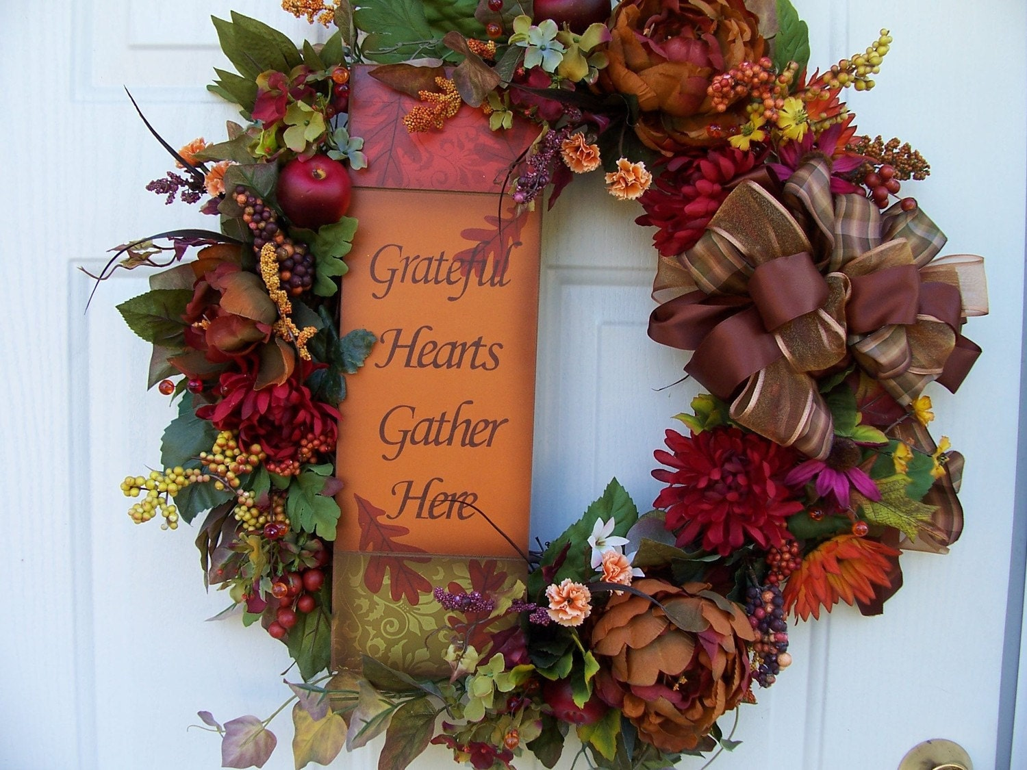 Decorating Ideas > Fall Wreath Autumn Wreath Thanksgiving Wreath By CustomCreated ~ 070224_Thanksgiving Decorations On Etsy