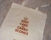 "Steampunk Slogan Tote Bag ""Keep Cake and Carry Scones"""