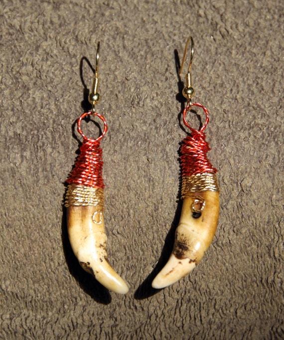 Fossil Wolf Teeth Earrings