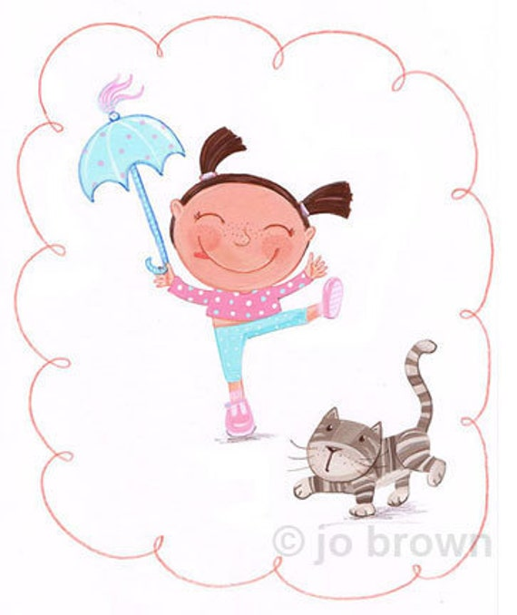 Original Painting - Acrobat girl... and cat by Jo Brown