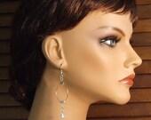Silver Metallic Hoop Earrings with Swarovski Beads