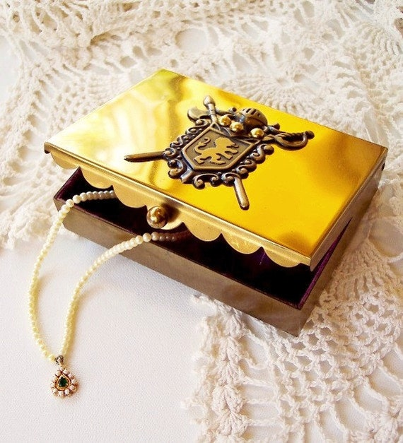 Mid-Century Modern Gold Jewelry Box Treasure Chest with Ornate Medieval Knight's Crest