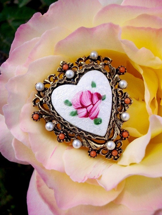 The Rose - Vintage Hand Painted Floral Guilloche Heart Brooch by Art
