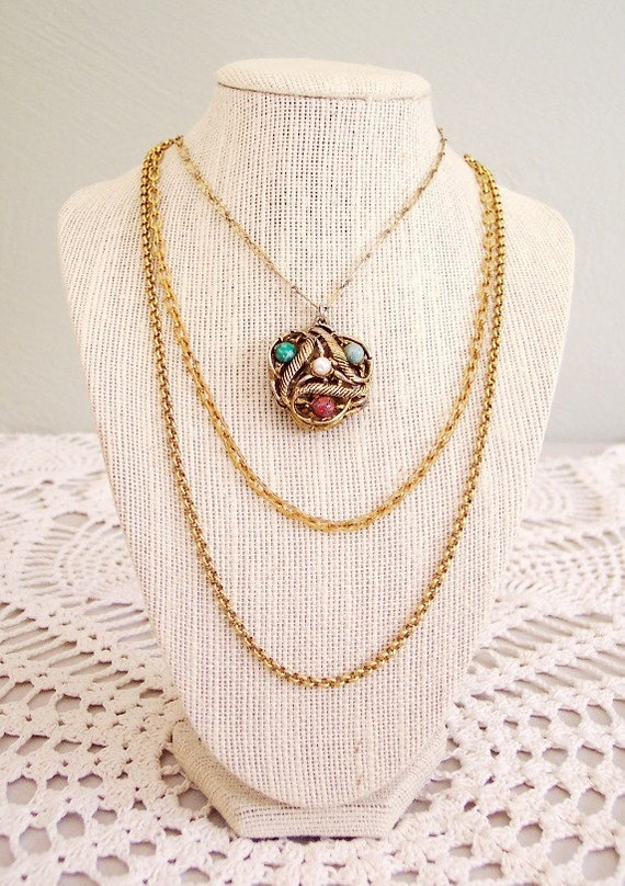 Diamonds and Pearls - Stunning Vintage Layer Chain Necklace with Reversible Cabochon, Pearl and Rhinestone Pendant