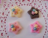 So kawaii colorful cookie with flower cabochons   4 pcs