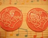Kawaii pink round usachan bunny cabochons   2 pcs