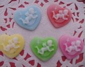 Sale--kawaii cupid angel heart cameo deco diy charm   5 pcs---USA seller