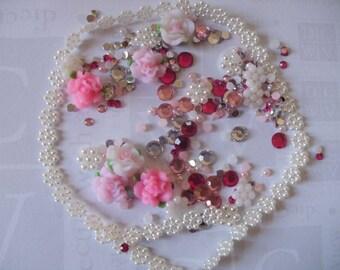 Kawaii decoden DIY kit rhinestone rose flowers more than 100 pcs