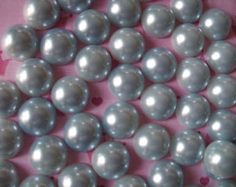 Light blue gray flatback pearls  deco decoden diy 14 mm  more than  30 pcs---USA seller