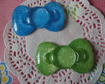 Sale--kawaii BIG glitter bow cabochons   2 pcs---USA seller