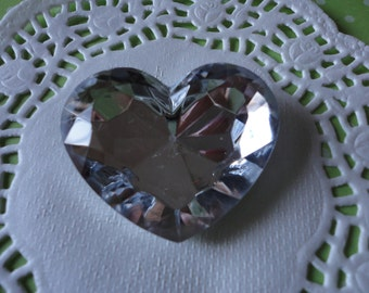 BIG clear heart rhinestone deco decoden phone diy charm---USA seller