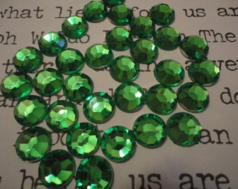 Emerald green acrylic rhinestone decoden phone deco diy 10 mm   20 pcs---USA seller