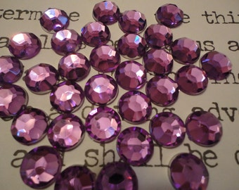 Purple acrylic  rhinestone decoden deco diy  10 mm   20 pcs---USA seller