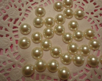 Off white flatback pearls decoden deco diy 10 mm  more than 30 pcs---USA seller