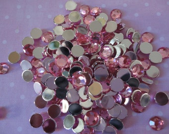 Pink acrylic rhinestone decoden deco diy  6 mm    more than  50 pcs---USA seller