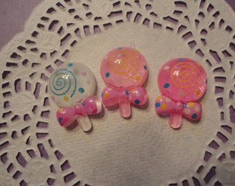 So kawaii lollipop with bow deco diy cabochons   3 pcs---USA seller