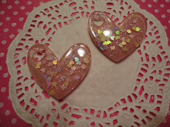 Kawaii pink glitter heart  filled with tiny hearts flatbacks   2 pcs