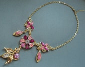 Pink Flower Necklace and Earrings Set